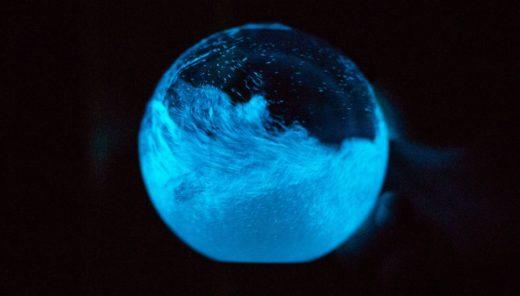 藻の「光る」特性を活かした神秘的な置物