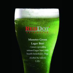 【スピルリナStyle】鮮やかなグリーンビール@シンガポール